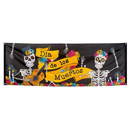 NET TOYS Partybanner Sugar Skull Dekobanner Dia de los Muertos 74 x 220 cm Stoffbanner Tag der Toten Halloween Textilbanner La Catrina