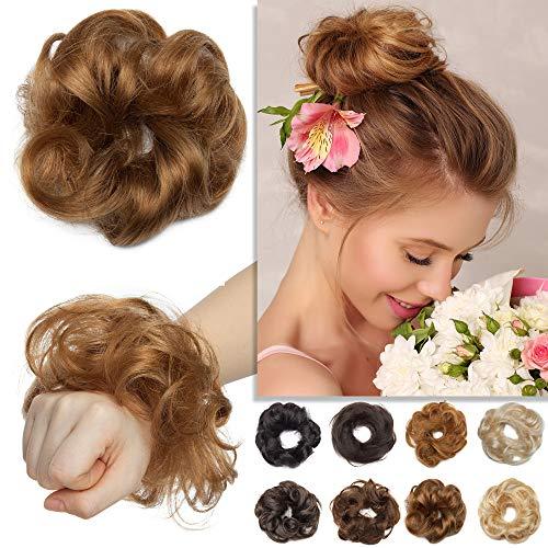 S-noilite Human Hair Messy Bun Hair Piece 2PCS Wavy Rose Bun Scrunchies Updo for Women Kids Wedding Elegant Chignons Donut Ponytail Hairpiece #6W Light Brown