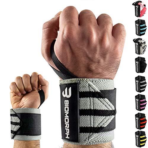 BIOMORPH Profi Handgelenk Bandagen [Wrist Wrap] 54cm für Fitness, Bodybuilding, Kraftsport & Crossfit I Handgelenkbandage flexibel einstellbar I Wrist Wraps für Frauen & Männer (Grey Black Stripes)
