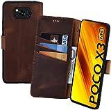 Suncase Book-Style Hülle kompatibel mit Xiaomi Poco X3 NFC Leder Tasche (Slim-Fit) Lederhülle Handytasche Schutzhülle Hülle mit 3 Kartenfächer in antik-Coffee