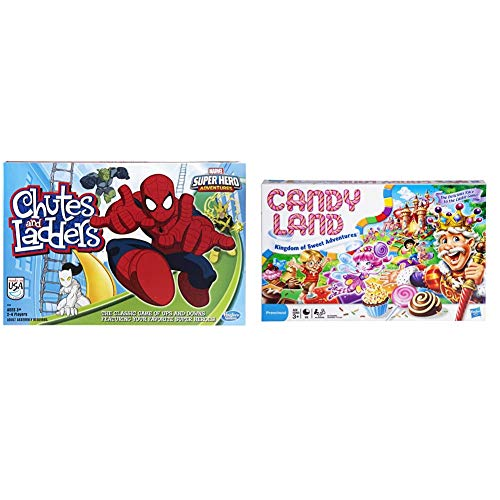 Hasbro Gaming Marvel Spider-Man Web Warriors Chutes & Ladders Game & Gaming Candy Land Kingdom of Sweet Adventures Board Game for Kids Ages 3 & Up (Amazon Exclusive),Red,Original Version
