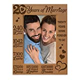 KATE POSH - 20 Years of Marriage 2000-2020, Our 20th Anniversary Engraved Natural Wood Picture Frame, Twenty Years Together, Wedding for Husband & Wife (4x6 Vertical)