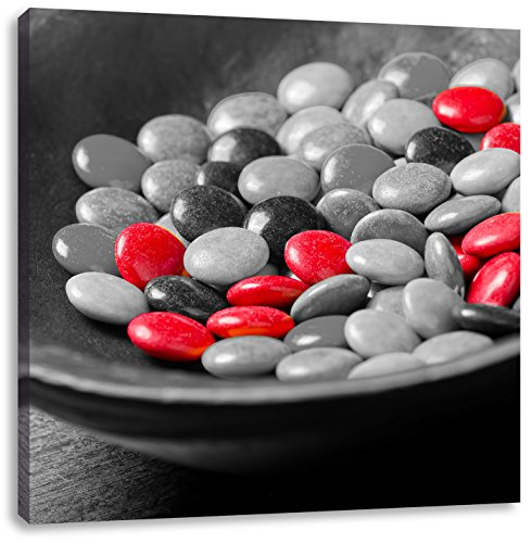 Chocolate Smarties snoepCanvas Foto Plein | Maat: 70x70 cm | Wanddecoraties | Kunstdruk | Volledig gemonteerd