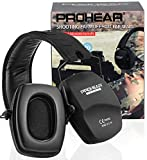PROHEAR 016-Gel Shooting Ear Protection Safety Muffs with Gel Ear Seals, NRR 26dB Noise Reduction Slim Low Profile Passive Earmuffs, Light Weight Folding Hearing Protector for Airsoft, Hunting (Black)