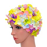 medifier Vintage Floral Petal Retro gorros de natación gorros de baño para las mujeres, multicolor