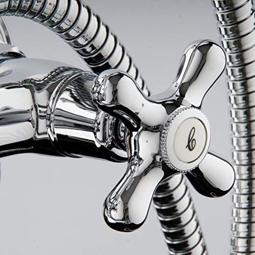 PaulGurkes – Design Nostalgie-Badewannenarmatur mit Handbrause - 4