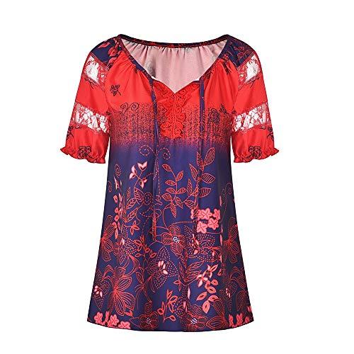 x8jdieu3 Sommer Top V-Ausschnitt Digitaldruck Spitze Spitze Urban Casual Kurzarm T-Shirt Weiblich