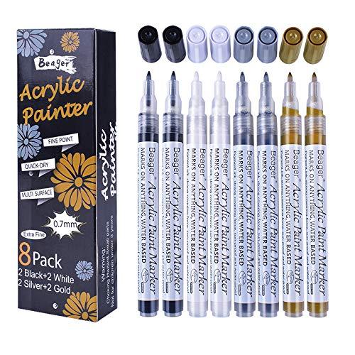 Schwarz Weiß Gold Silber Acrylstifte, 0,7mm Permanent Marker Stifte Wasserfest Acrylfarben Stifte Steine Bemalen Stifte für Steine Keramik Holz Metall Papier Glas Stoffe Kunststoff Leder DIY 8 Pack