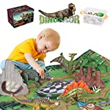 Dinosaur Toys 12 Realistic Dinosaur Figures, Activity Kids Play Mat & Trees for Creating a Dino World Including T-Rex, Triceratops, etc 20 Pcs, Adjustable Joint, Perfect Dinosaur Gifts for Boy & Girl