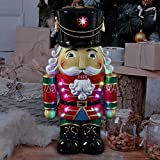 """Exhart Hand Painted Nutcracker Soldier w/Battery-Powered LED Uniform– Indoor/Outdoor Christmas Nutcracker w/Traditional Ceremonial Soldier Dress- Durable Weather-Resistant Resin, (10.5"""" x 7.5"""" x 19"""")"""