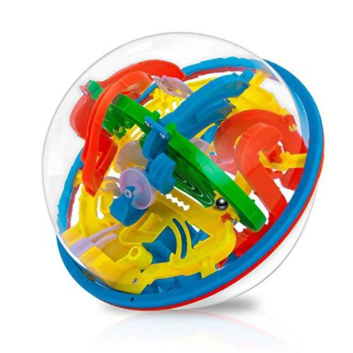iNeego 3D Labyrinth Ball 16cm 3D Intellekt Ball mit 118 herausfordernde Barrieren 3D Labyrinth Ball für Kinder 3D Puzzle Spielzeug Magische Maze Ball Gehirn Teaser Puzzle Spiel 16cm