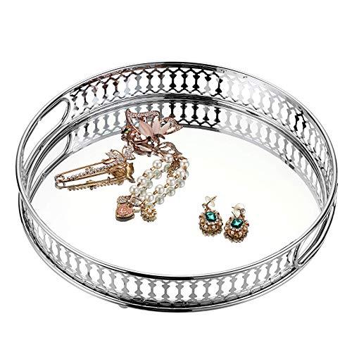 SUMTREE Bandeja cosmética de metal y cristal con 2 asas, para joyas y botellas de perfume, decoración para dormitorio, baño y tocador (rectangular, plateado)