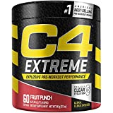C4 Extreme Pre Workout Powder Fruit Punch | Sugar Free Preworkout Energy Supplement for Men & Women | 200mg Caffeine + Beta Alanine + Creatine | 60 Servings