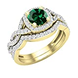 Dazzlingrock Collection 5.8 mm Round Lab Created Emerald & Natural White Diamond Ladies Twisted Style Halo Wedding Ring Set, 14K Yellow Gold, Size 7