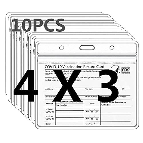 Paquete de 10 soportes para tarjetas de identificación, 4 x 3 pulgadas, protector de etiqueta de nombre transparente, funda de PVC resellable, impermeable, horizontal, resellable por RuiChy