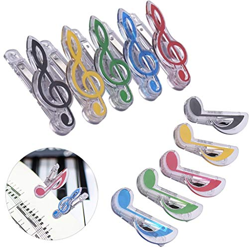 IronBuddy 10 Pack Music Note Clips Music Clips Page Holder Plastic Sheet Clips Book Clips Bookmarks Stationery Clips for Paper (Multicolor Transparent)
