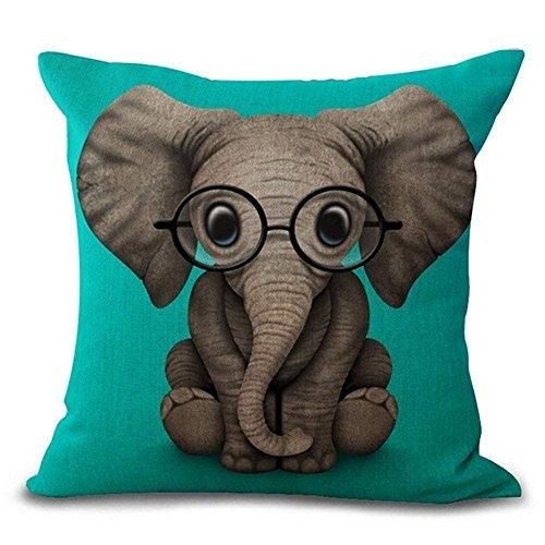 Mengghy DreamCase - Funda de cojín para bebé, diseño de elefante, de algodón, lino, decoración del hogar, 45 x 45 cm, color blanco