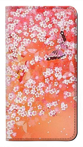 Innovedesire Japanese Kimono Style Flower Pattern Caso del Tirón Funda Carcasa Case para LG Q7