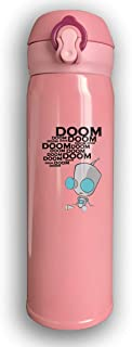Adhone Custom Invader Zim Stainless Water Bottle, Sports Drinking Bottle/Travel Coffee Mug, Leak-Proof Vaccum Cup, with Bounce Cover, Pink