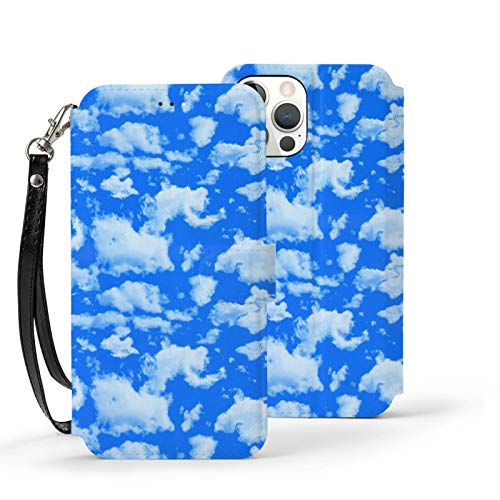 Ip12pro Max-6.7 Funda de cuero Flip teléfono cartera cubierta a prueba de golpes azul cielo Baiyun impresión protectora con ranura para tarjeta titular Kickstand