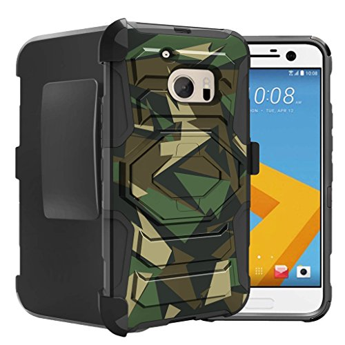 Untouchble Case for HTC One M10 Case, HTC Lifestyle, HTC M10 Case [Max Alpha Holster] Rugged Hybrid Armor Case with Kickstand and Swivel Belt Clip - Green Camo