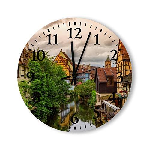 Tamengi Little Venice Petite Venise in Colmar France - Reloj de pared redondo, silencioso, rústico, casa de campo, decoración del hogar, fabricado en Estados Unidos