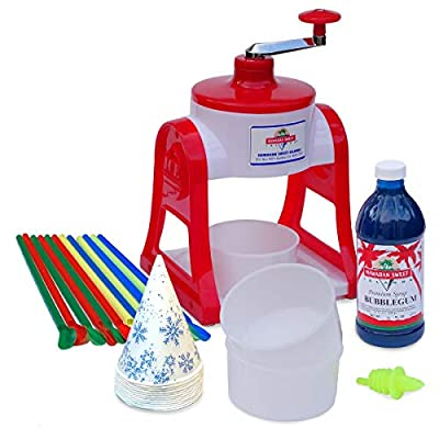 Shaved Ice and Snow Cone Hand Crank non-electric Machine with 1 Flavor Syrup Gift Pack and Accessories Kit - RED Bubblegum