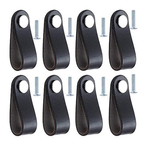 Cuasting 8 piezas manija del gabinete tirador de la puerta del cajón del cuero del tirador de la puerta con el tornillo para el armario del armario del cajón