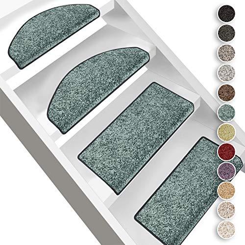 Floordirekt Hochflor-Stufenmatten Bali | Halbrund oder Eckig | Treppenmatten in 11 Farben | Strapazierfähig & pflegeleicht | Stufenteppich für Innen (Türkis, Halbrund 65 x 23,5 cm)