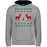 Shirtracer Weihnachten Kind - Norweger Pixel Rentier Weihnachten - 152 (12/13 Jahre) - Grau meliert/Navy Blau - Jungen Norweger Strickjacke - JH003K - Kinder Kontrast Hoodie