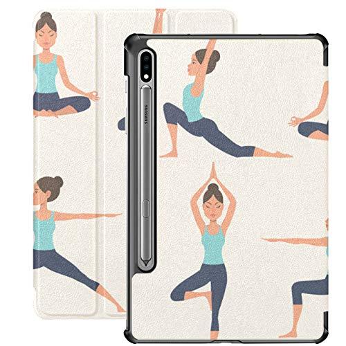 Yoga Cartoon Healthy Girl Carcasas Samsung Galaxy Tab A para Samsung Galaxy Tab S7 / s7 Plus Funda Galaxy Tab S7 Plus 2020 Funda Trasera con Soporte Funda Galaxy Tab S7 Plus 2020