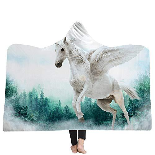 Pegasus Deken, 3D hout wit landschap dier snijplank gedrukt deken, winterwarm volwassene zachte pluizige omhang cape, Sherpa deken trein, vliegtuig slaapbank deken voor lezen spelen en studeren 130×150cm