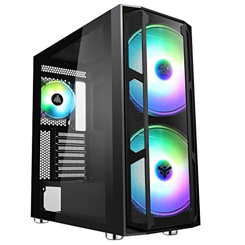 Itek Case MAJES 20 Evo - Torre para videojuegos (2 x 20 cm, ARGB Fan, USB3, Front & Side Panel Temp Glass