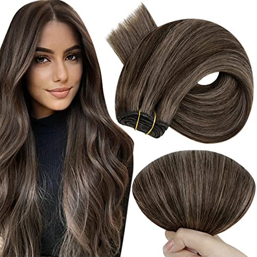 Hetto Brown Sew in Weft Extensions Human Hair #2/8 Brown Highlighted Silky Straight Weaving Hair 100g 20 Inch Human Hair Weft Sew in Extensions