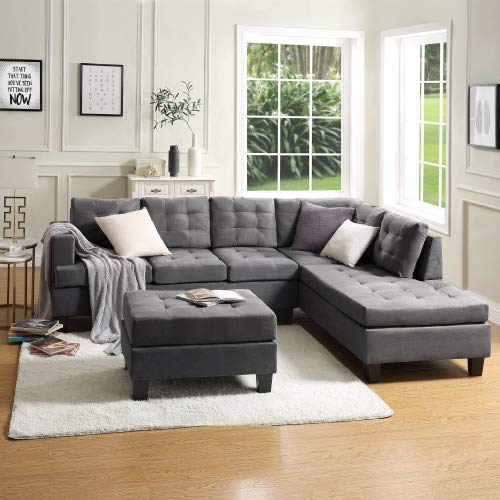 MOOSENG, 3-Piece Sectional Furniture Set with Chaise Lounge and Storage Ottoman L Shape Couch Sofas, Classic Gray