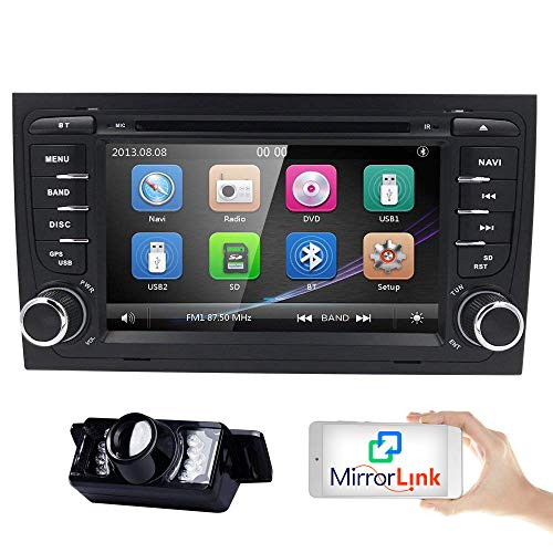 7 inch Touchscreen 2Din Car In Dash Stereo Radio for Audi A4 S4 RS4 Support GPS Navigation DVD Player Bluetooth USB SD Subwoofer iPod 3G Dual Zone 1080P IR Parking Camera