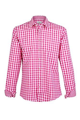 Almsach Herren Karohemd Slim-Fit Vichy pink 'Tobias', Fuchsia (pink), L