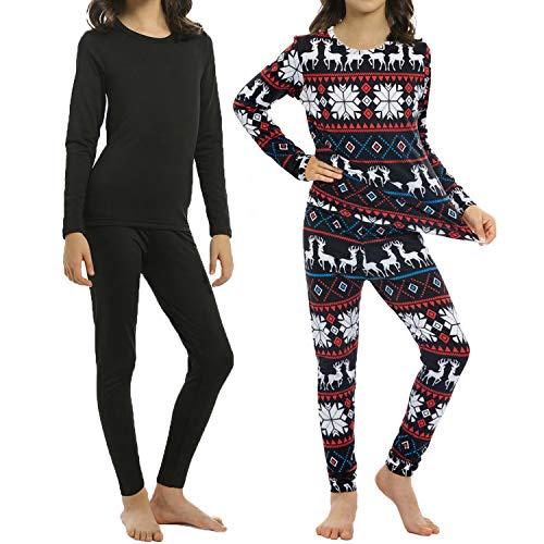 ViCherub 2 Sets Girls Thermal Underwear Set Kids Long Johns Fleece Lined Top & Bottom Thermals for Girl Black & Christmas Medium
