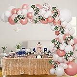 Kit de guirnalda de arco de globos de oro rosa con rosas de vid, kit de arco de globo de 45,72 cm, decoración de fiesta de cumpleaños con globos blancos de oro rosa para cumpleaños, boda, baby shower