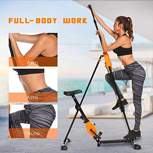 Vertical Climber Folding 2 in 1 Climbing Stepper Home Gym Exercise Machine Exercise Bike for Home Body Trainer Stepper Cardio Workout Training(US Stock) (Orange)