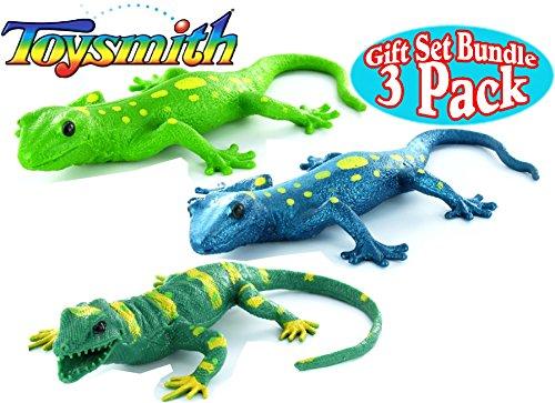 Toysmith Lizard Squishimals Light Green Dark Green & Blue Complete Gift Set Bundle - 3 Pack