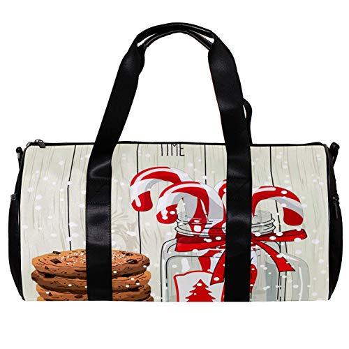Anmarco Duffel Bag per Donne Uomini Cioccolato Biscotti Canne di Caramella in Vaso di Vetro Sport Palestra Tote Bag Weekend Pernottamento Viaggio Borsa Borsa Borsa Bagagli Esterni