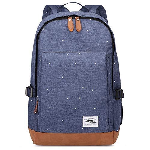 Kaukko Damen Rucksack Studenten Backpack Laptop College Schulrucksack Reiseeucksack, Large, Dark Blue