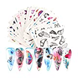 30 Sheets Butterfly Nail Art Stickers Foil Nail Decals Water Transfer Nail Art Design Manicure Tips Nail Art Accessories Colorful Butterflies Nail Art Decals Foils for Nails Decoration Manicure Set