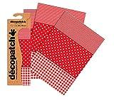 DecoPatch - Carta da découpage, motivo: strisce, pois e scacchi, confezione da 3 fogli, Rosso