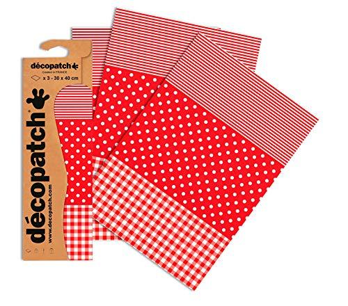 Decopatch Papier No. 484 (395 x 298 mm) 3er Pack rot gepunktet