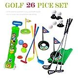 SOWOFA Golf Pro. Ensemble de Jeu de Jouet Golfeur 6 Cannes de Golf et 19 Kits d'entraînement avec Chariot pour Enfants de 1 à 6 Ans (Ensemble B)