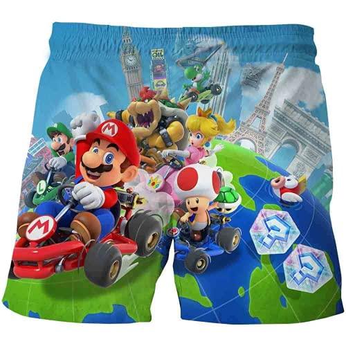 EA-SDN Super Mario - Bañador 3D para niño, de secado rápido, con bolsillos y cinta de goma