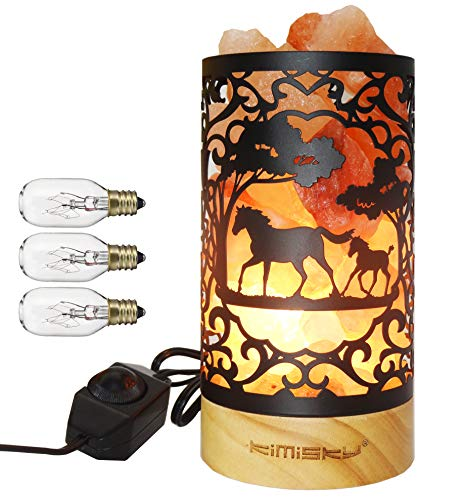Himalayan Pink Salt Lamp Basket & Wood Base,Himalayan / Hymilain Sea Salt Lamps,Hymilain Sea Salt Lamps,Night Light,Stainless Steel Basket,Dimmable Switch, Holiday Gift,Horse Decoration Kimisky (ETL Certified, 2 Extra Bulbs)
