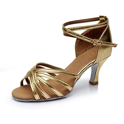 VASHCAME-Standaard/Ballroom/Moderne/Latin Dansschoenen Competitie Partij Salsa Latijnse Sandalen voor dames Gouden(Hiel-7 CM) 35